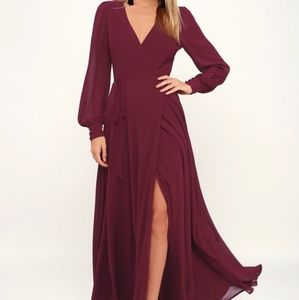 Lulus Brand New Burgundy Long Sleeve Dress Small